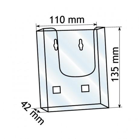 Forma e dimensioni del portadepliant in formato 10,5 x 21 cm