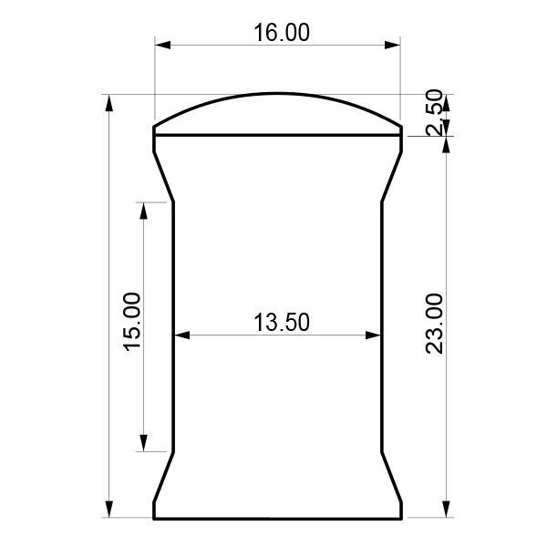 Disegno tecnico, ottone, misura media a brugola