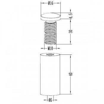 Disegno tecnico, distanziale XL, alluminio, finitura anodizzata