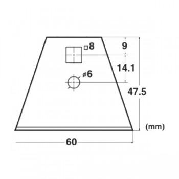 Forma e dimensioni della lama trapezoidale che taglia (1 pz in dotazione)