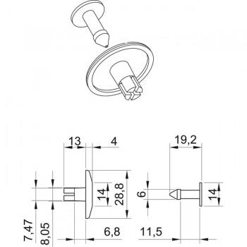 Forma e misure dei rivetti in plastica fino a 14 mm (RIVEXP2814550)